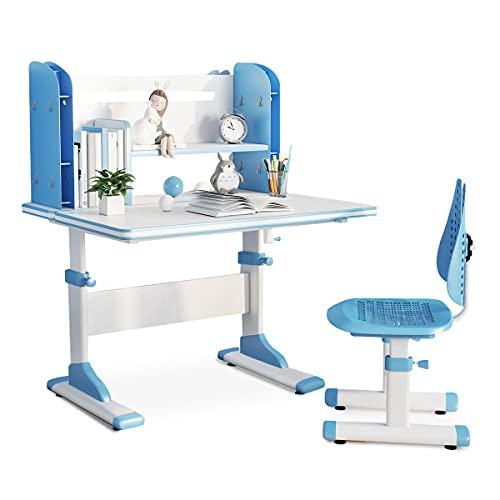 """SÄKEE Kids Desk with Chair Set Height Adjustable Children School Desk with Update 31"""" Wide Desktop and Bookshelf (Blue)"""