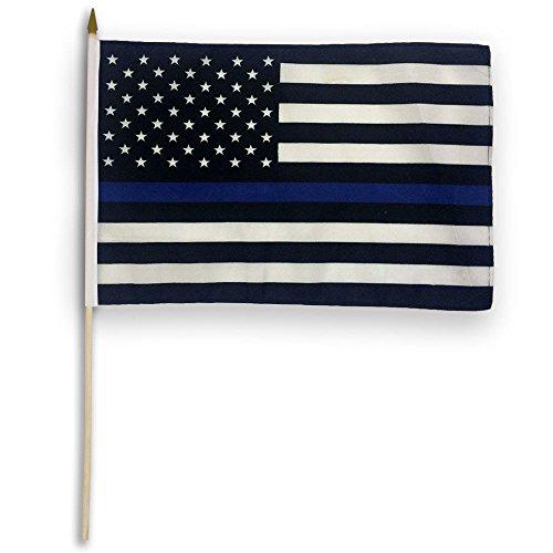 AES 12x18 Thin Blue LINE USA - Stick Flag Police Blue Lives Matter Hand Held Flag