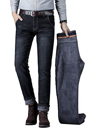 CLOTPUS Men' Fleece Lined Skinny Jeans Winter Slim Fit Thicken Warm Stretch Pants Black 34