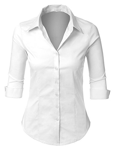 LE3NO Womens Roll Up 3/4 Sleeve Button Down Shirt with Stretch, L3NWT574A_WHITE, Large