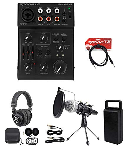 Rockville 1-Person Podcast Podcasting Recording Kit w/Mic+Stand+Headphones