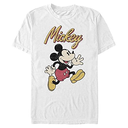Disney Vintage Mickey Camiseta, Blanco, M para Hombre