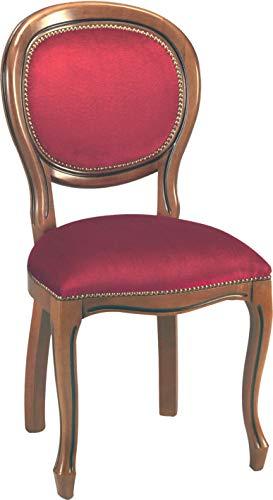 Destock Meubles - Sedia con medaglione, in velluto, colore: Bordeaux