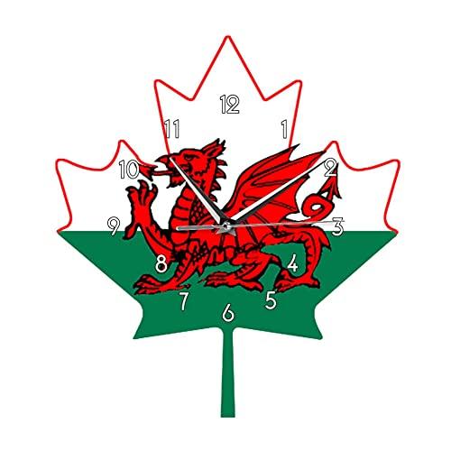 Flagge von Wales Wanduhr Welsh Red Dragon auf weißem grünem Ahornblatt Y Ddraig Goch UK Vereinigtes Königreich Großbritannien Uhr Watch-No_Frame