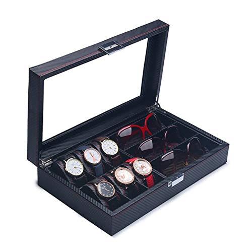 KUANDARGG Caja de joyería de fibra de carbono cubierta de vidrio tragaluz PU cuero reloj caja de almacenamiento caja de embalaje caja de joyería de regalo, mediano