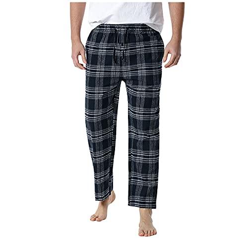 Binggong Pantalones de pijama para hombre, a cuadros, largos, sueltos, ropa de dormir, ropa de dormir, ropa de dormir, ropa de casa, casual, pantalones de pijama para hombre, a cuadros