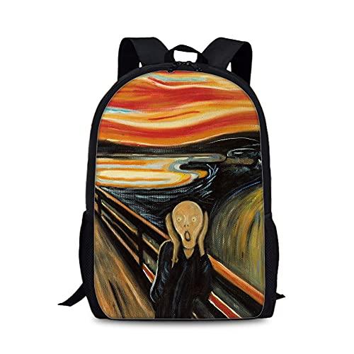 Mochila para niños 3D Edvard Munch Styles Popular Mochila Mochila de alta capacidad Daypack Portátil Bolsa de viaje de la escuela adecuada para niños y niñas bolsa de escuela Bolsa de la escuela al ai