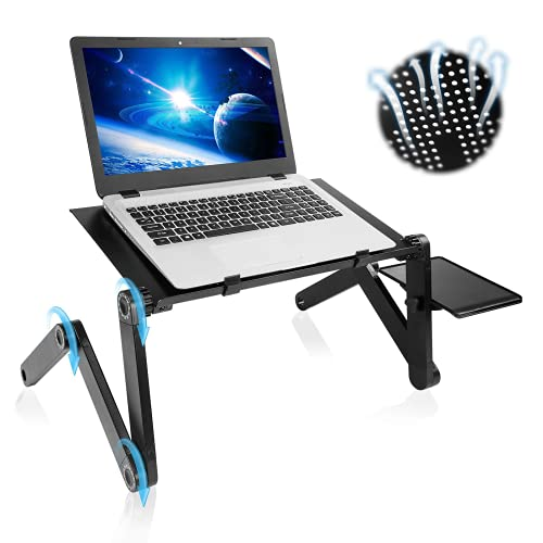 Upgraded Aluminum Foldable Laptop Stand Adjustable Computer Stand Portable Laptop Bed Tray Reinforced Ergonomic Lap Desk Size 17' with Mouse Pad