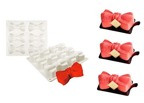 Joinor 6-Cavity Bow Ties Shape Mousse Silicone Mold, Chocolate Molds, Dessert, Wedding Cake, Candy and Soap Making Mold