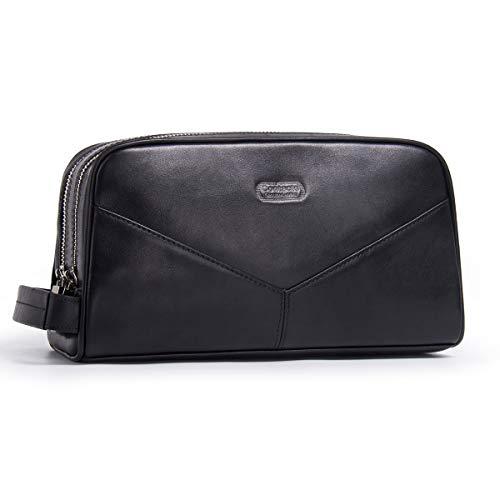 Contacts Cuero real doble cremallera Dopp Kit Travel Toiletry Bag (negro)