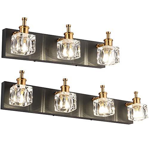 PRESDE Bathroom Vanity Light Fixtures Over Black Mirror 3 Lights with 4 Lights