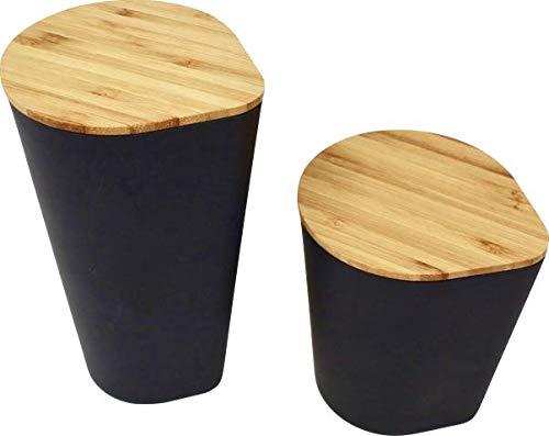 KeMar Kitchenware Behälter mit Bambus Deckel naturbelassen | Vorratsbehälter | Set 2 Stück | Schwarz 640 ml 950ml