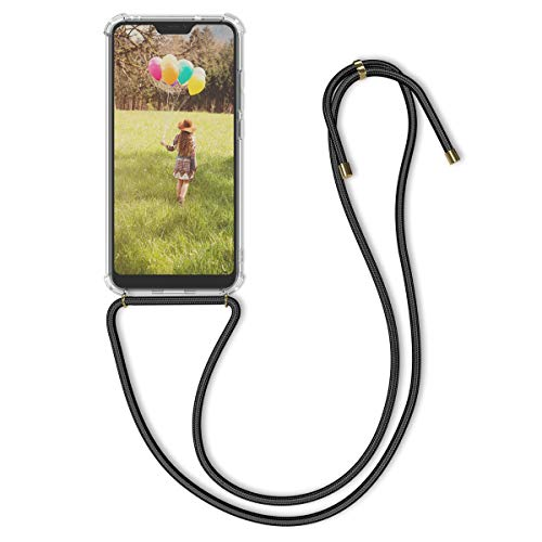 kwmobile Funda con Cuerda Compatible con Xiaomi Redmi Note 6 Pro - Carcasa Transparente de TPU con Cuerda para Colgar en el Cuello