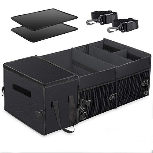 X-cosrack Auto Kofferraumtasche, Organizer Auto mit Klett Spanngurten - Kofferraum Falttasche Einkaufstasche Autotasche Autobox Autokofferraumtasche Klettbefestigung Kofferraum-Organizer Schwarz