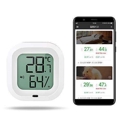 温湿度計 デジタル Bluetooth ワイヤレス 温度計 湿度計 高精度 温湿度レコーダー スマホで温湿度管理 グラフ記録とデータ輸出機能 温湿度異常アラーム機能 日本語専門アプリ対応 強力マグネット付き 健康管理 Zeonetak