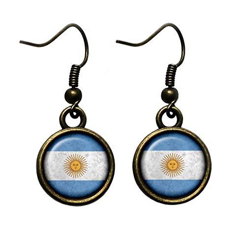 Flower world - Pendientes de bandera Argentina con adornos de cristal cúpula para mujer