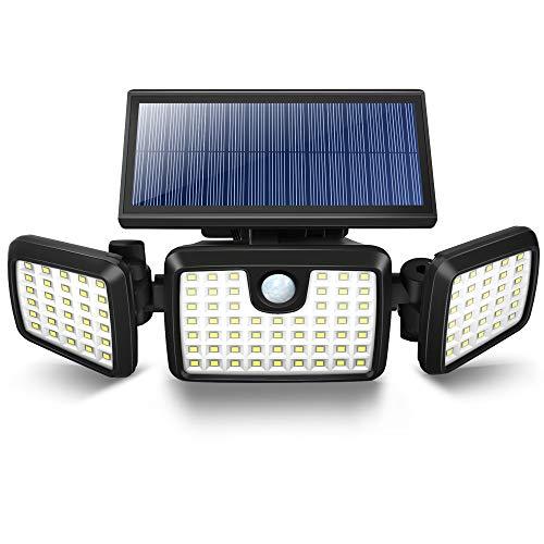 Solarlampen für Außen mit Bewegungsmelder 3 verstellbare Köpfe 120 LED 2600mAh Solarleuchte Aussen Solar Aussenleuchte IP65 mit Bewegungsmelder wasserdicht und hitzebeständig Geeignet Garten , Balkon