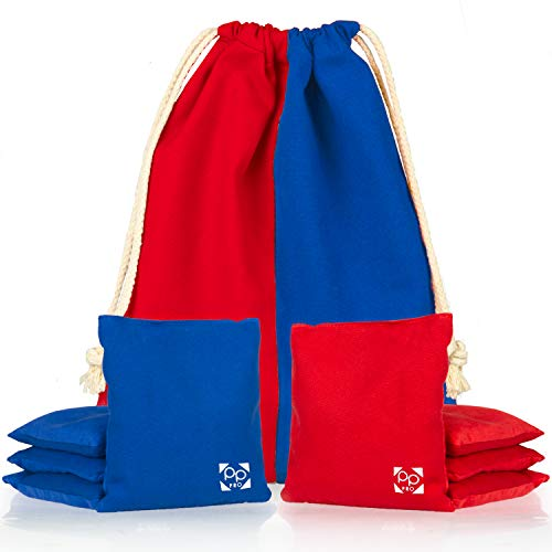 Professional Cornhole Bags - Set of 8 Regulation All Weather Two Sided Improved Bean Bags for Pro Corn Hole Game - 4 Red & 4 Blue