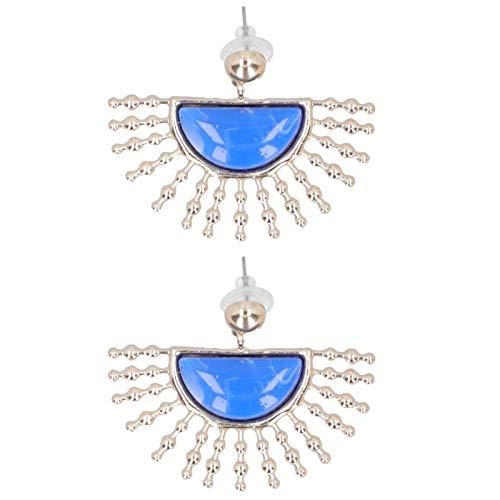 FikaLife 1 par de sectores de gota a rayas brillantes portátiles pendientes prácticos simples de moda semicírculo geométrico pendientes de aleación colgante joyería regalo (azul)