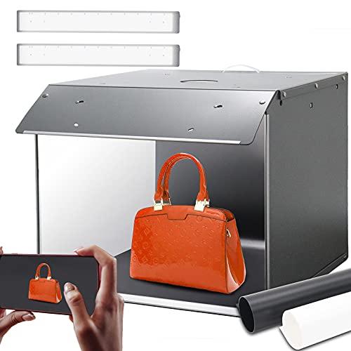 Box fotografico, Tenda Studio light box 33x26x26cm Orthland studio fotografico portatile con 2 Striscia LED 5500K,Professionale Luce soffusa lightbox