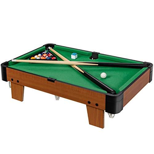 COSTWAY 61cm Mini Billardtisch mit 2 Queues und 16 Kugeln, Tischbillard Spiel inkl. Kreide und Dreieck, Spieltisch fürFamilienspiele, Camping, Partys