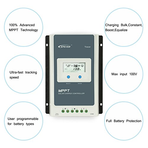 EPEVER 40A MPPT Solar Charge Controller 12V 24V Auto, 40 amp Negative Grounded Solar Charge Controller MPPT Max Input 100V, 520W/1040W for Lead-Acid, Lithium Batteries and Load Timer Setting