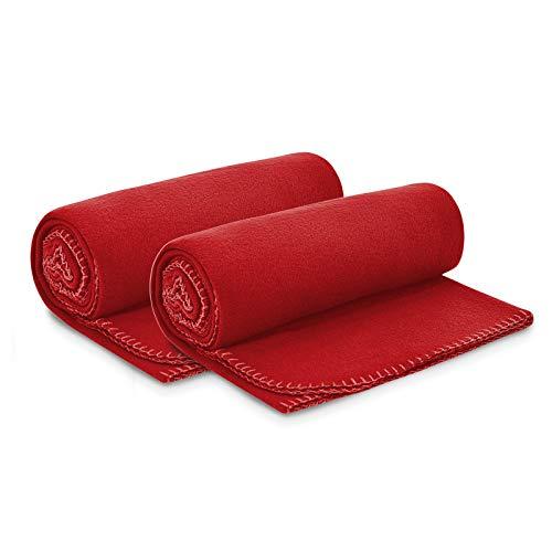 2er Set Polar Fleecedecke 130x160 cm ca. 400g schwer OekoTex mit Anti-Pilling und Kettelrand rot, weitere Farben erhältlich