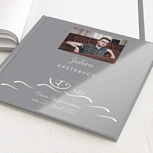 sendmoments Gästebuch mit Ihrem Wunschtext & -Bild gestalten Konfirmation, Wellen, hochwertige Blanko-Innenseiten, 32 Seiten oder mehr, Hardcover-Buch, quadratisch - Symbol Fisch Wasser