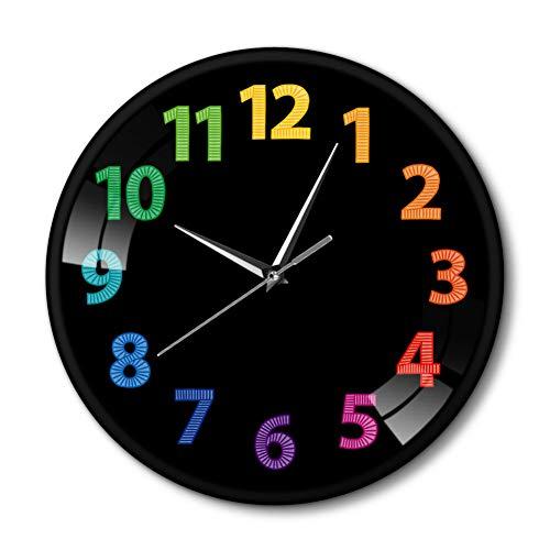 N/ A Colorido Reloj de Pared Digital decoración arcoíris Imprimir Silencio Cuarzo Reloj de Oro decoración del hogar