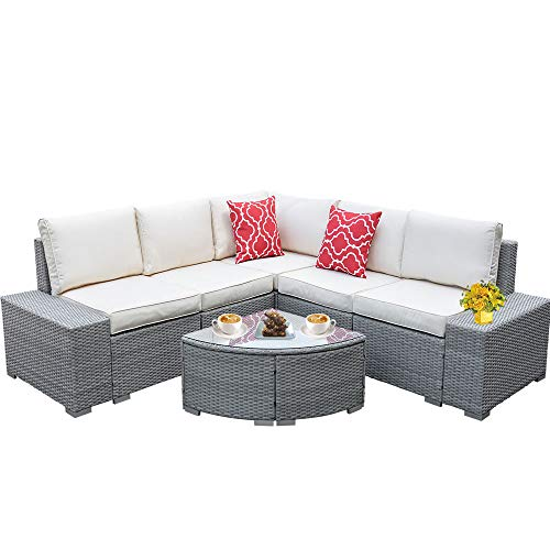 6 Pieces Patio Furniture Conversation Set,Outdoor Sectional with Comfortable Cushions and Stylish Coffee Table,All-Weather Outdoor Furniture PE Rattan Wicker Woven Sofa Patio Sets (Gray)