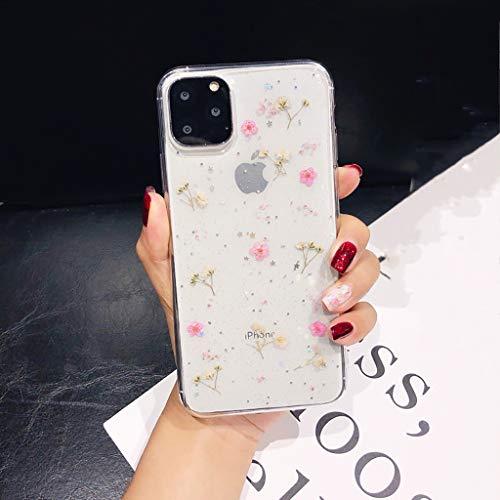 Bakicey iPhone 11 Pro Max Custodia per iPhone Xs Max, custodia protettiva in gel di cristallo, ultra sottile, realizzata a mano, motivo floreale iPhone 11 Pro Max (6,5'') Piccolo fiore rosa.
