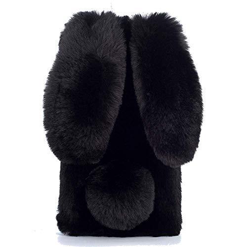 Miagon Handyhülle für Huawei P40,Super Weich Winter Warm Lustig Hase Ohren Kunstpelz Plüsch Fluffy Flexibel Handytasche Schale für Huawei P40