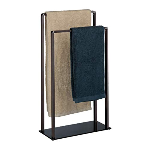 Relaxdays, Bronze-schwarz Handtuchständer freistehend, 2 Stangen, modern, Metall, Handtuchhalter, HxBxT: 80 x 45 x 20 cm