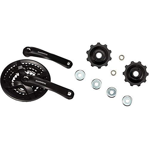 SHIMANO FC-TY501 Vierkant 6/7/8-fach Kurbelgarnitur, schwarz, 170 mm & Schaltwerkröllchen 7/8-fach,Y-56398100