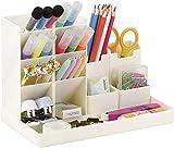 POPRUN Bambini Portapenne per scrivania, multifunzionaleorganizer da Scrivania, Organizzatore di trucco per ufficio, scuola, casa beige