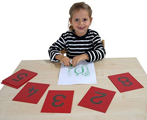 Betzold 89405 - Montessori-Material Sandpapier-Ziffern im Holzkasten, 10 Tast-Platten - Mathematik-Lehrmittel