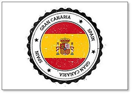 Gran Canaria Vlag Badge. Vintage reisstempel met ronde tekst koelkastmagneet