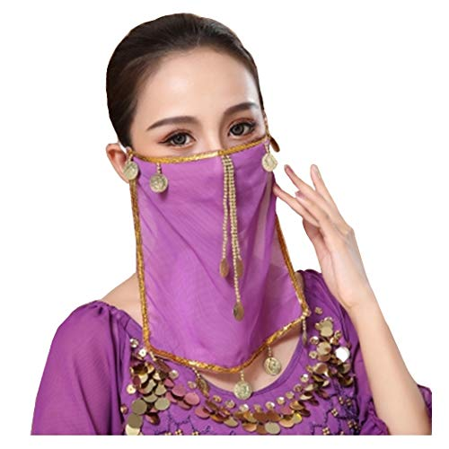 Women Belly Dance Face Veil Coins Tribal Face Scarf Halloween Genie Costume Accessory Purple
