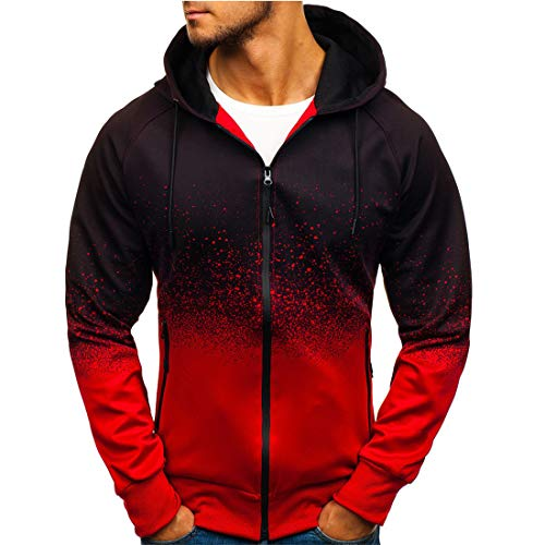 Yczx Mens Hooded Jacket Long Sleeves Zip-up Sweatshirts Casual Hooded Jacket Jumpers Jogging Running Tops Unisex Hooded Sweatshirt Zipper Tie Dye Jacket Sports Tops 3XL