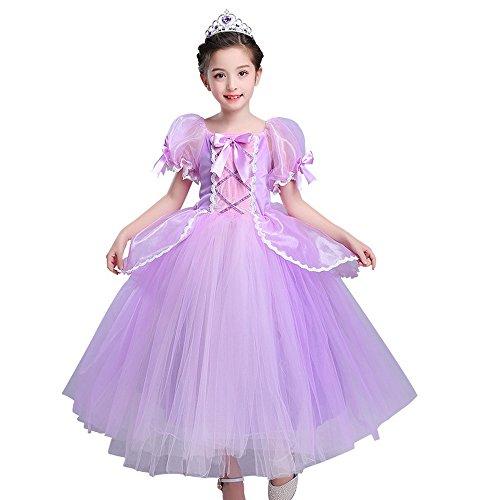Kleine meisjes Prinses Rapunzel Kostuum Jurk Kids Mesh Tulle Puff Mouw Jurken Paars 6-7 years Paars