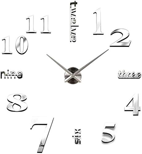 LYDREAM Reloj De Pared 3D Moderno Sin Marco Silencioso Espejo Grande DRIVISIÓN DIY Dormitorio DE Oficina DE Oficina DE Oficina,A