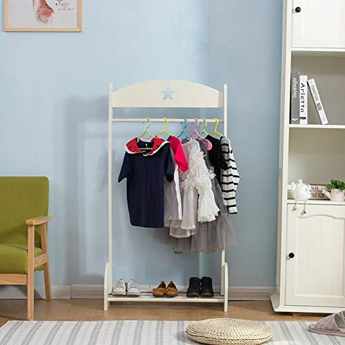 Escudo blanco perchero de pie De pie suspensión de ropa Tableros de fibra de densidad media con zapatos de plataforma Escuela Infantil, 66 x 35 x 128cm