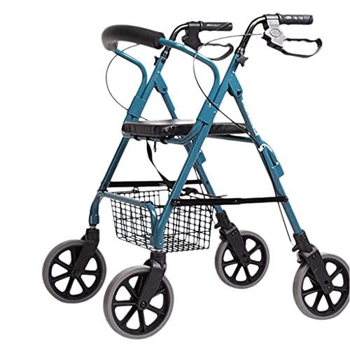 Bastón, Andador Con Ruedas De 4 Ruedas Con Asiento Y Cesta De Almacenamiento, Respaldo Desmontable Y Freno De Mano,Ayuda Para La Movilidad Para Ancianos Y Discapacitados, Silla De Transporte