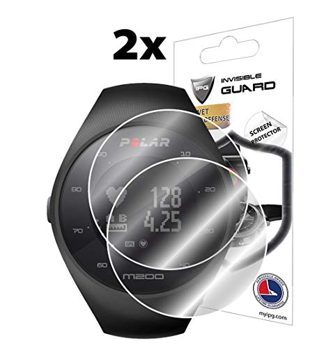 IPG for Polar M200 Fitness Tracker Watch Screen Protector (2 Units) Invisible Ultra HD Clear Film Anti Scratch Skin Guard - Smooth/Self-Healing/Bubble -Free