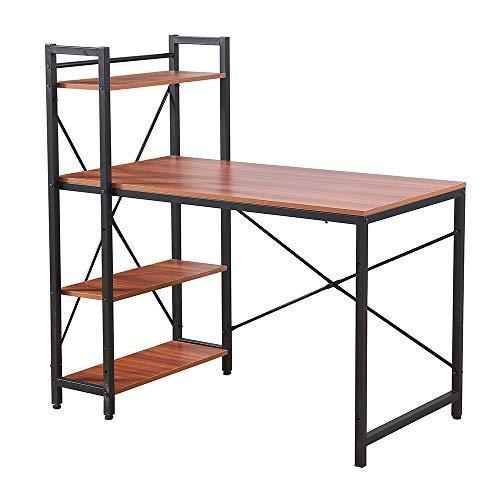 Radelldar Schreibtisch mit Regal Stauraum Computertisch PC Tisch Laptop Tisch Arbeitstisch Bürotisch Holz Metall für Home Office 114 x 65 x 114 cm (Walnut)