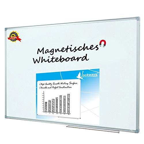 Lockways Whiteboard - Magnetisch Stabiler Tafel - praktische Weißtafel 80 x 110 cm, silbrig Metall Rahmen für Schule, Wohnung und Büro