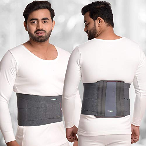 TOFIT Exclusive Double Strapping Contoured Lumbar Sacral Belt For Back Support Back Pain Belt For Compression Abdominal Belt For Men Women (Large, Grey)