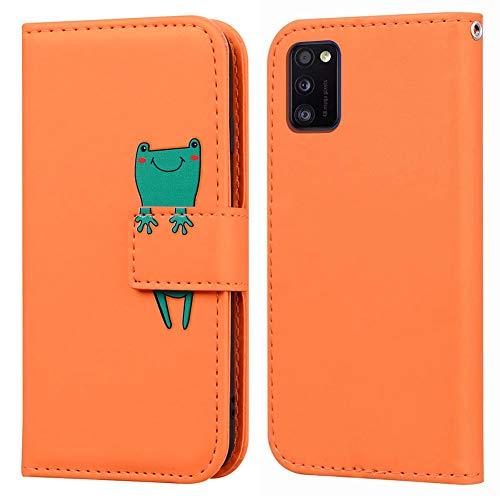 Ailisi Samsung Galaxy A41 Hülle, Karikatur Grün Frog Muster Leder Handyhülle Brieftasche Schutzhülle Leder Flip Hülle Wallet Cover Klapphüllen Tasche Etui mit Kartenfächern+Stand -Frosch, Orange