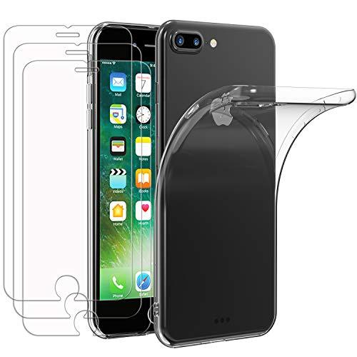 iVoler Custodia Cover per iPhone 8 Plus / 7 Plus + 3 Pezzi Pellicola in Vetro Temperato, Ultra Sottile Morbido TPU Trasparente Silicone Antiurto Protettiva Case per iPhone 8 Plus / 7 Plus