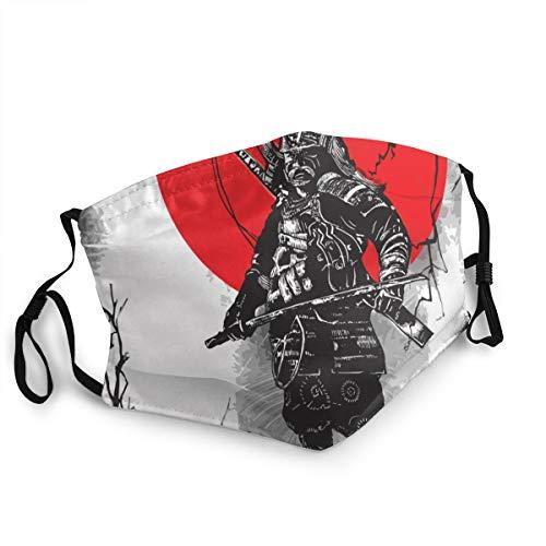 Waschbarer Mundschutz Anti-Staub-Gesichtsschutz,Handgezeichnete Japan Warriors Samurais Shoguns,Wiederverwendbar winddicht für Outdoor-Ski Radfahren Camping Laufen